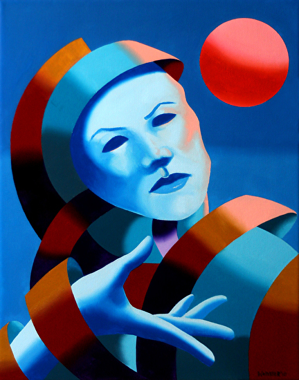 "Untitled Mask Oil Painting 01/19 by Mark Webster Oil ~ 14"" x 11"""