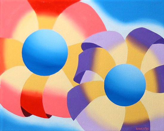 "Daily Painters Blog - Abstract Futurist Flowers #1 by Mark Webster Oil ~ 8"" x 10"""