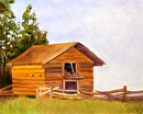 "Mountain Barn Landscape Oil Painting by Northern California Artist Mark Webster by Mark Webster Oil ~ 8"" x 10"""
