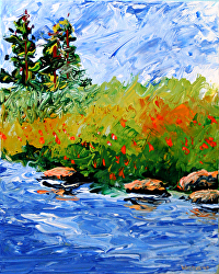 Foothill River Abstract Palette Knife Acrylic Painting by Northern California Artist Mark Webster