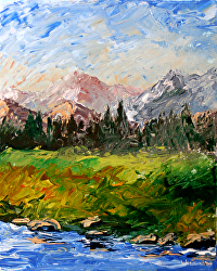 Mountain River Abstract Palette Knife Acrylic Painting by Northern California Artist Mark Webster