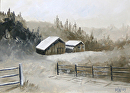 "Foothill Barn Grayscale Landscape Oil Painting by Northern California Artist Mark Webster by Mark Webster Oil ~ 5"" x 7"""