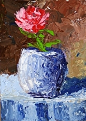 Daily Painters Blog - Rose in Vase Abstract Palette Knife Acrylic Painting - A Painting A Day by Northern California Artist Mark Webster