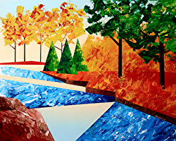 Daily Painters Blog - Abstract Autumn River Landscape Acrylic Painting - A Painting A Day by Northern California Artist Mark Webster