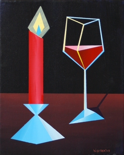"Abstract Glass of Wine by Candle Light Acrylic Painting by Northern California Artist Mark Webster by Mark Webster Acrylic ~ 10"" x 8"""