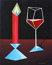 Daily Painters Blog - Abstract Glass of Wine by Candle Light Acrylic Painting - A Painting A Day by Northern California Artist Mark Webster
