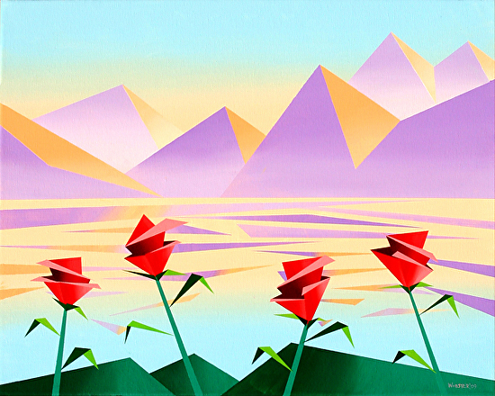 """Abstract Purple Mountains Acrylic Painting #2 by Northern California Artist Mark Webster by Mark Webster Acrylic ~ 16"""" x 20"""""""