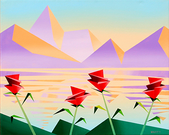 """Abstract Purple Mountains Acrylic Painting #1 by Northern California Artist Mark Webster by Mark Webster Acrylic ~ 16"""" x 20"""""""