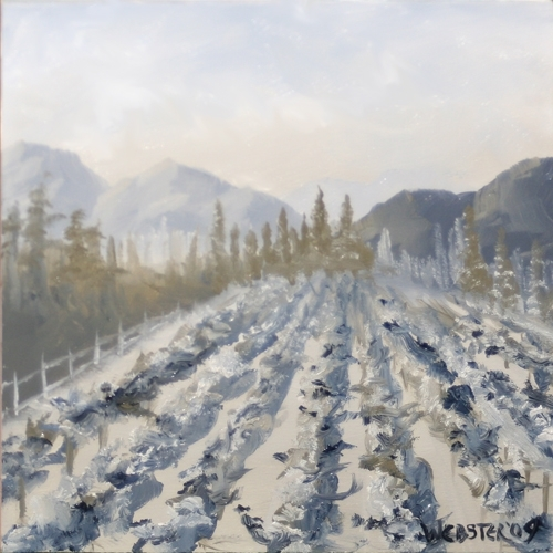 "Mountain Vineyard 6x6"" Black and White Landscape Oil Painting by Northern California Artist Mark Webster by Mark Webster Oil ~ 6"" x 6"""