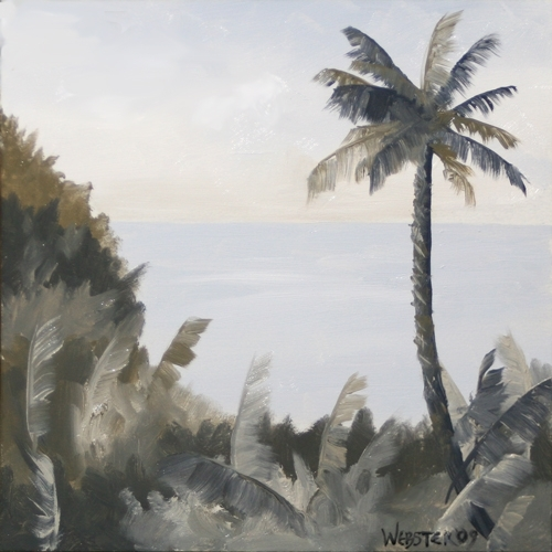 "Hawaiian Palm Tree Black and White Landscape Oil Painting by Northern California Artist Mark Webster by Mark Webster Oil ~ 6"" x 6"""