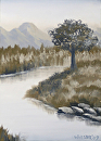 Grayscape #7 Black and White Landscape Oil Painting by Northern California Artist Mark Webster by Mark Webster Oil ~ 7 x 5