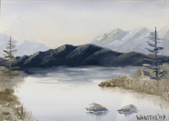 Grayscape #6 Black and White Landscape Oil Painting by Northern California Artist Mark Webster by Mark Webster Oil ~ 5 x 7