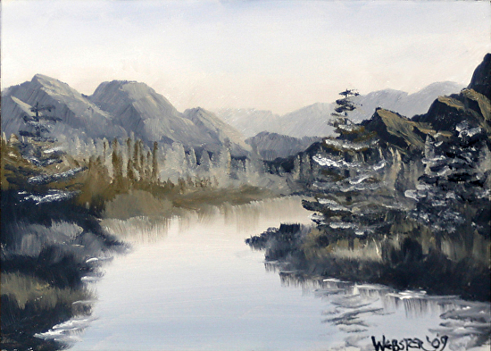 Monochrome Oil Paintings - Grayscape Black And White Landscape Oil Painting By Northern California Artist Mark Webster