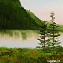 "Early Morning River View Landscape Oil Painting by Northern California Artist Mark Webster by Mark Webster Oil ~ 6"" x 6"""