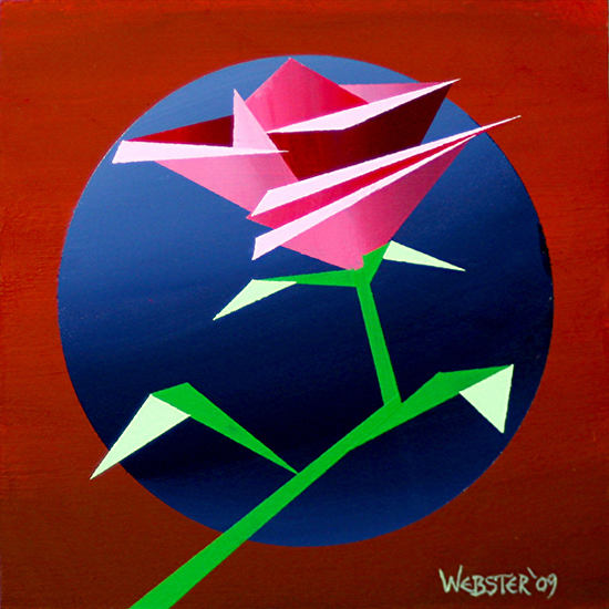 Abstract Geometric Rose #2 Acrylic Painting by Mark Webster Acrylic ~ 6 x 6