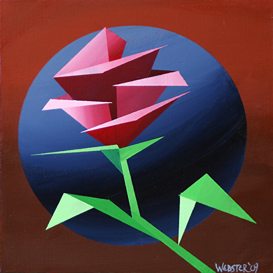 "Abstract Geometric Rose #1 Acrylic Painting by Mark Webster Acrylic ~ 6"" x 6"""