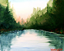 Sunrise at the Mountain Lake Oil Painting by Nothern California Artist Mark Webster by Mark Webster Oil ~ 8 x 10
