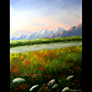 Sunrise at the Mountain River Landscape Oil Painting by Northern California Artist Mark Webster by Mark Webster Oil ~ 14 x 11