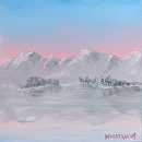 Snowy Mountain Lake Landscape Oil Painting 243 by Artist Mark Webster by Mark Webster Oil ~ 6 x 6