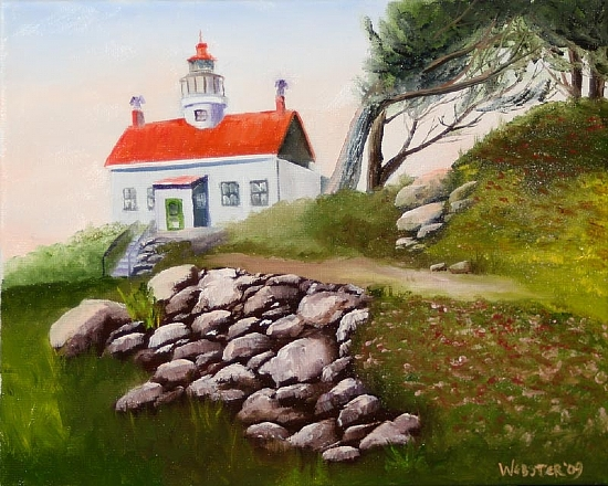 Daily Painters Blog - Battery Point Lighthouse Oil Painting by Mark Webster Oil ~ 8 x 10