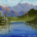 "Mountain Oil Painting Series #5 by Northern California Artist Mark Webster by Mark Webster Oil ~ 6"" x 6"""