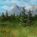 "Mountain Oil Painting Series #2 by Northern California Artist Mark Webster by Mark Webster Oil ~ 6"" x 6"""