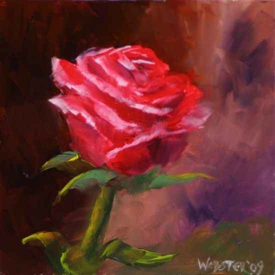 """By Any Other Name"" #3 Rose Oil Painting by Mark Webster Oil ~ 6"" x 6"""