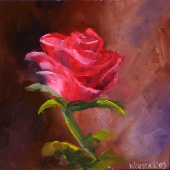 """By Any Other Name"" #1 Rose Oil Painting by Mark Webster Oil ~ 6"" x 6"""