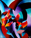 "The Chess Player Abstract Futurism Painting by Mark Webster by Mark Webster Oil ~ 10"" x 8"""
