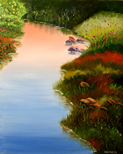 """Flowers on the River Oil Painting 240 by Artist Mark Webster by Mark Webster Oil ~ 20"""" x 16"""""""