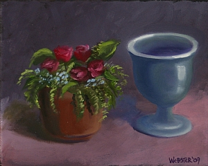 """Mark Webster - Flowers and Vase Still Life Oil Painting by Mark Webster Oil ~ 8"""" x 10"""""""