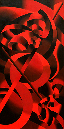 "Abstract Futurist Modern Cellist, Red Oil Painting by Northern California Artist Mark Webster by Mark Webster Oil ~ 36"" x 18"""