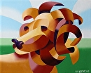 "Futurist Abstract Lion Oil Painting by Mark Webster Oil ~ 8"" x 10"""