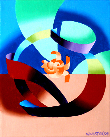 "Futurist Abstract Goldfish Bowl Oil Painting by Northern California Artist Mark Webster by Mark Webster Oil ~ 10"" x 8"""
