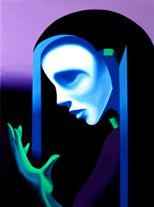 "Futurist Abstract Ghost Mask Oil Painting by Mark Webster Oil ~ 24"" x 18"""
