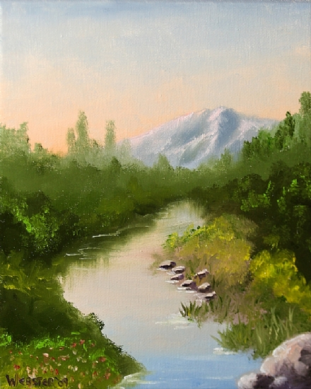 Mountain River Sunrise Oil Painting by Mark Webster Oil ~ 10 x 8