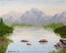 "Mountain Lake Oil Painting 237 by Artist Mark Webster by Mark Webster Oil ~ 8"" x 10"""