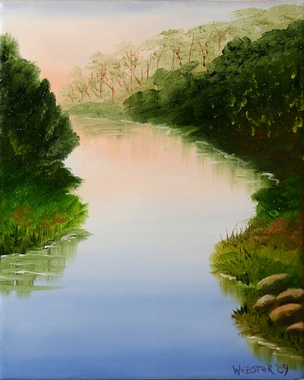 """Sunset on the River Oil Painting 236 by Artist Mark Webster by Mark Webster Oil ~ 10"""" x 8"""""""