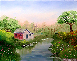 Mark Webster - Barn and Oak Tree by the Creek Landscape Oil Painting