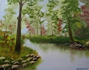 "Misty River Oil Painting 233 by Artist Mark Webster by Mark Webster Oil ~ 11"" x 14"""