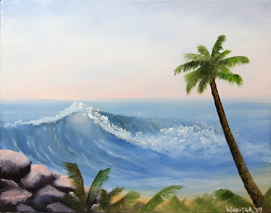 """Hawaiian Cost Wave and Palm Tree Oil Painting by Northern California Artist Mark Webster by Mark Webster Oil ~ 11"""" x 14"""""""