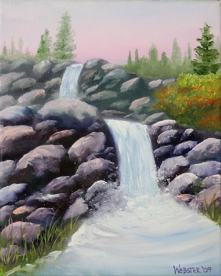 "Waterfall Landscape Oil Painting 232 by Artist Mark Webster by Mark Webster Oil ~ 8"" x 10"""
