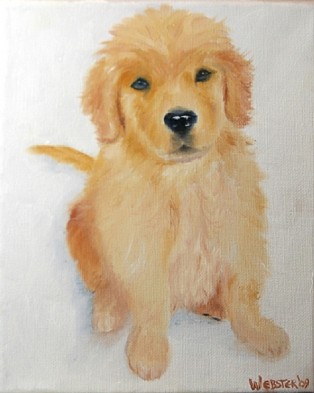 """Golden Retriever Puppy in the Snow Oil Painting by Northern California Artist Mark Webster by Mark Webster Oil ~ 10"""" x 8"""""""
