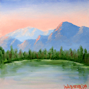 "Pine Mountain Lake 6x6"" Oil Painting by Artist Mark Webster by Mark Webster Oil ~ 6"" x 6"""