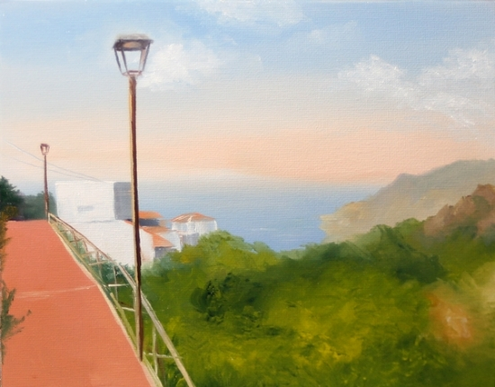 """Canary Islands Oil Painting - Caser�o Lomo las Casillas Taborno - Mark Webster by Mark Webster Oil ~ 8"""" x 10"""""""