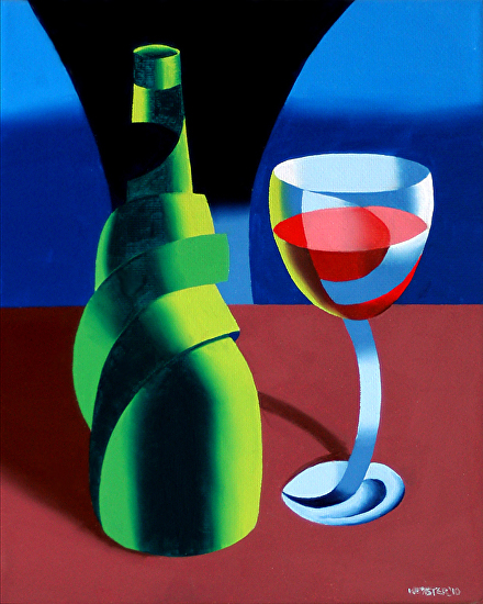 "Abstract Wine Bottle and Glass Still Life Oil Painting by Northern California Artist by Mark Webster Oil ~ 10"" x 8"""