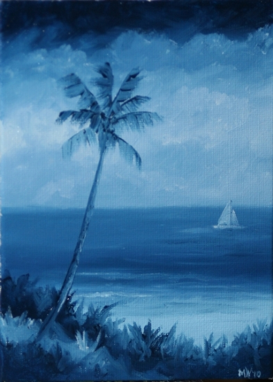 "Daily Painters Blog - Blue Hawaiian - Coastal Oil Painting with Sailboat by Artist Mark Webster by Mark Webster Oil ~ 7"" x 5"""