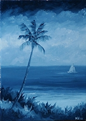 Daily Painters Blog - Blue Hawaiian - Coastal Oil Painting with Sailboat - A Painting a Day by Northern California Artist Mark Webster