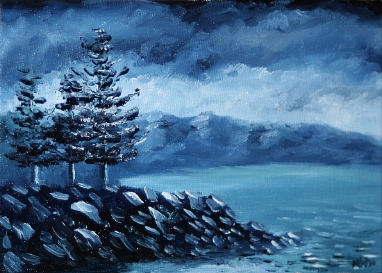 "Midnight Oil Series - Lake Tahoe North Shore by Artist Mark Webster by Mark Webster Oil ~ 5"" x 7"""