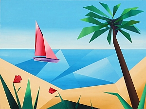 Abstract Sailboat off the Coast of Hawaii (with Palm Tree and Flowers) by Mark Webster Acrylic ~ 36 x 48